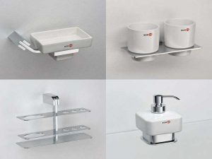Аксессуары Schein для ванн и раковин: дозаторы, стаканы, мыльницы, держатели зубных щёток