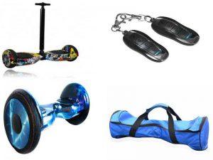 Аксессуары для удобства эксплуатации гироскутера: палка-ассистент, сумка для переноски, пульт управления, светодиодные фары