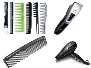 Парикмахерские аксессуары: машинка для стрижки, расчёски, фен