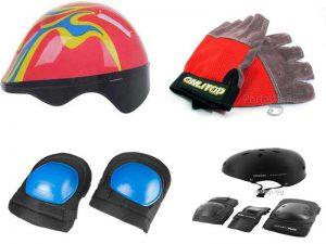 Аксессуары для защиты водителя гироскутера: шлем, налокотники, наколенники, перчатки