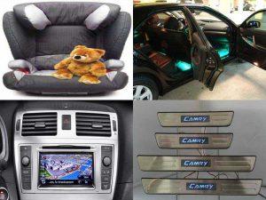 Аксессуары для Toyota Camry: детское кресло BABY-SAFE, накладки на пороги, лампы для дверей, навигационный блок Go2 Plus