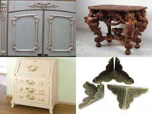 Декор для мебели: фасад, уголки, наклейки, декоративные ножки