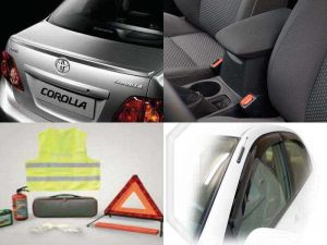 Аксессуары Toyota Corolla: лампы Optibright и Optiblue, ветровики, бокс с крышкой, комплект автомобилиста