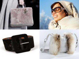 Аксессуары на зиму: меховые сумки, солнцезащитные очки, пояс для пальто