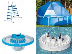Дополнительные аксессуары для бассейнов: лестницы, навесы, светодиодная подсветка, столик-бар