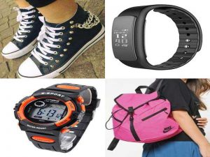 Аксессуары для одежды: кеды, рюкзак, фитнес-браслет, спортивные часы