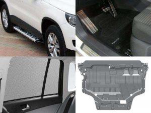 Аксессуары Тигуан: пороги-подножки, защита картера, солнцезащитные шторки, накладки на педали