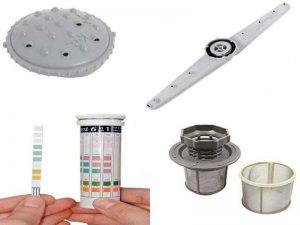 Аксессуары для посудомоечных машин: защитная пластина от пара, импеллер, тест-полоски для определения жёсткости воды, фильтр