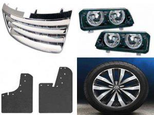 Аксессуары Фольксваген: решётка радиатора, фары, брызговики, колёсный диск