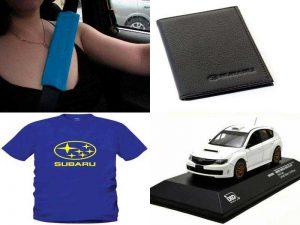 Аксессуары Субару: накладки на ремень безопасности, портмоне, футболка, уменьшенная копия модели Impreza
