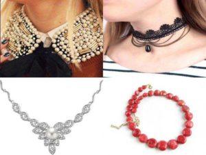 Аксессуары на шею: бусы, ожерелье, чокер, биб