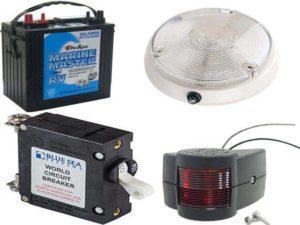 Аксессуары для катеров: аккумулятор, навигационное оборудование, освещение, предохранители