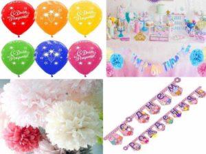 Аксессуары для дня рождения: воздушные шары, гирлянды, тканевые декорации, бумажные помпоны