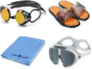 Аксессуары для плавания: очки, шлёпанцы, полотенце