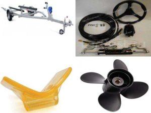 Аксессуары для катеров: тележки, упоры, винты для лодочных моторов, рулевое управление