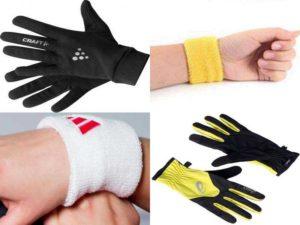 Аксессуары для бега: перчатки, напульсники