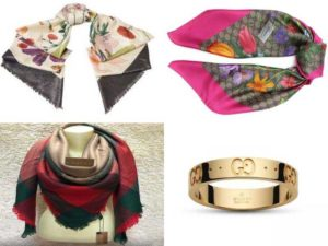 Женские аксессуары Гуччи: шарфы, платки, ювелирные украшения