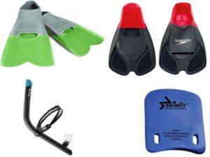 Аксессуары для плавания: ласты, доска для плавания, дыхательная трубка