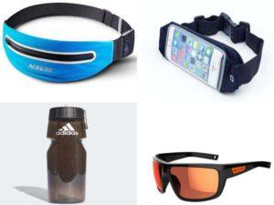 Аксессуары для бега: пояс для бега, солнечные очки, бутылка с водой