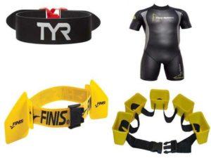 Аксессуары для плавания: фиксаторы для ног, тормозные пояса, Hydro Hip, гидрокостюм