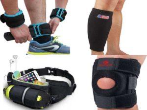 Аксессуары для бега: утяжелители, наколенники, специальные пояса, спортивные бандажи