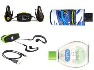 Аксессуары для плавания: подводный плеер, шампунь для нейтрализации хлора, масло для тела