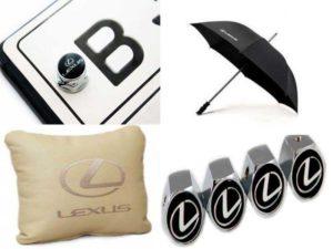 Аксессуары для Лексус: болты для крепления номера, колпачки на ниппели, кожаная подушка в салон, зонт