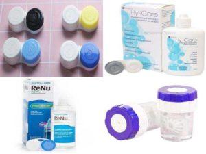 Аксессуары для линз: контейнер и раствор для хранения