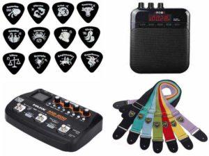 Аксессуары для гитары: медиаторы, ремень, гитарный процессор, усилитель