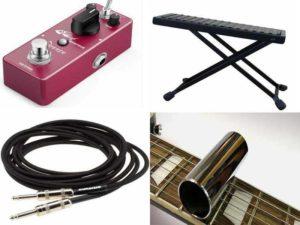 Аксессуары для гитары: гитарный эффект, слайд, шнуры для электрогитары, подставка под ногу
