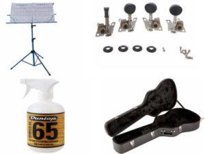 Аксессуары для гитары: пюпитр, чехол, колки, полироли