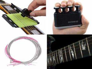 Аксессуары для гитары: протиратель для струн, наклейки, запасные струны, тренажёр для гитариста