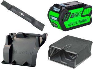 Аксессуары для газонокосилок: ножи, травосборники, насадки для мульчирования, электрические адаптеры