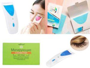 Аксессуары для лица: станок для завивки ресниц с подогревом, матирующие салфетки