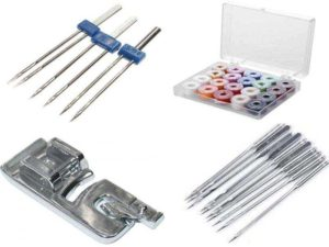 Аксессуары для швейных машин: иглы, двойные иглы, шпульки, лапки