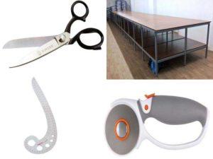 Аксессуары швеи для раскроя: портновские ножницы, дисковый нож, раскройный стол, лекало
