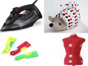 Швейные аксессуары: утюг, портновский манекен, нитковдеватель, подушечки для иголок